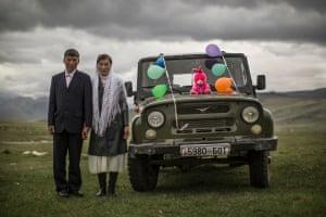 Kazakh wedding party in the Altai Mountains