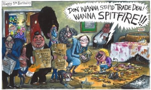 Martin Rowson cartoon 24.6.21: Tory cabinet celebrate 5th anniversary of Brexit vote