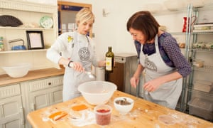 Elizabeth Mahoney, right, making bread with Miranda Sawyer at One Mile Bakery in Cardiff.