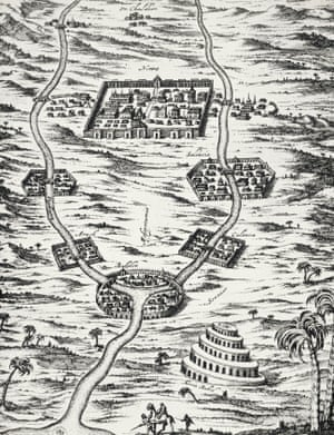 Map featuring Mesopotamia and Tower of Babel, engraving