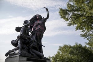 A statue depicting a Confederate soldier in Piedmont Park in Atlanta is vandalised with spray paint