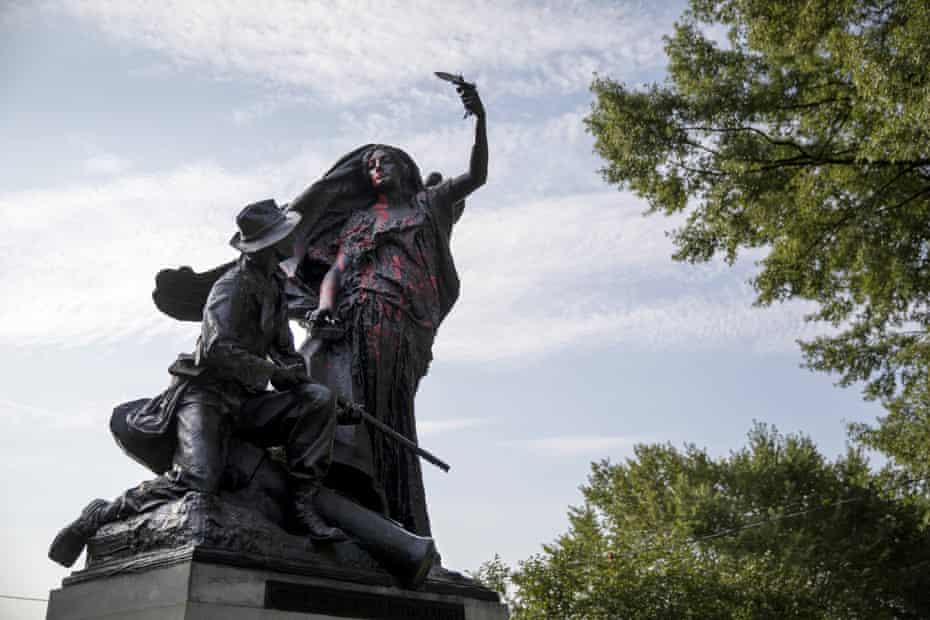The Peace monument in Piedmont Park in Atlanta depicts a Confederate soldier halted by an angel. It was defaced in 2017 after the protests in Charlottesville, Virginia.
