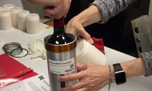 Researchers at the company prepared bottles of French red wine to transport to the International Space Station in November 2019