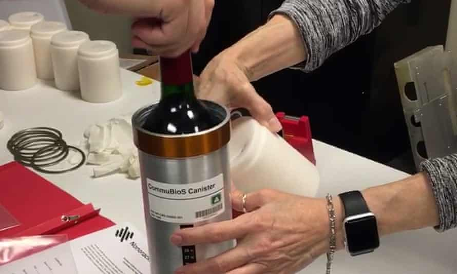 Researchers from the company prepared bottles of French red wine to be flown to the International Space Station in November 2019