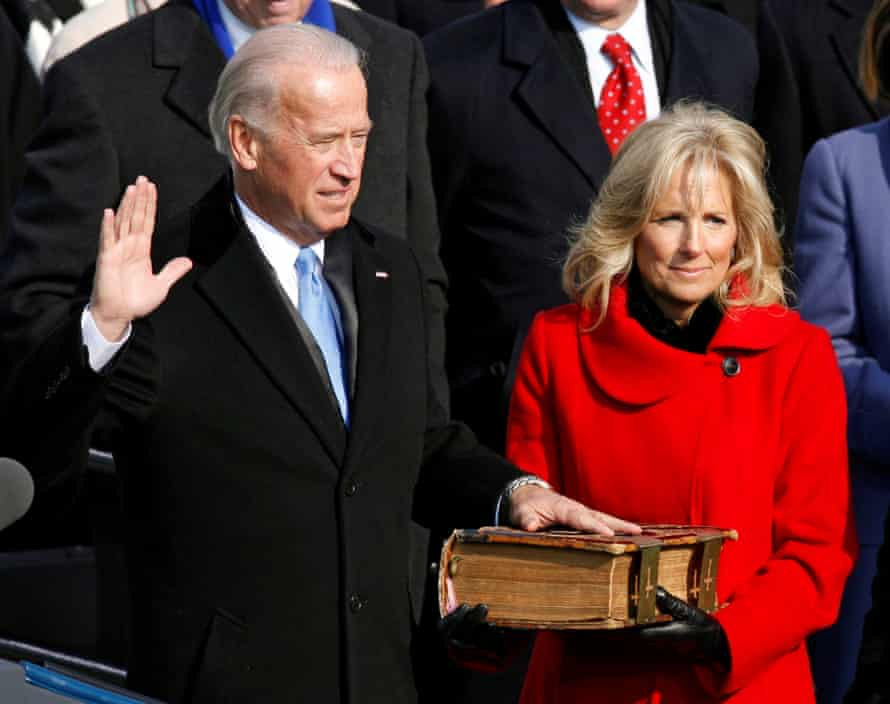 Joe Biden is sworn in as his wife Jill watches during the inauguration ceremony for President Barack Obama on 20 January 2009.