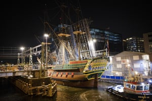 A replica of the Dutch East India Company ship Amsterdam sails to a temporary berth before returning to the Scheepvaart museum