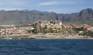 Hotels, resorts and apartment buildings on the Costa Adeje, Tenerife.