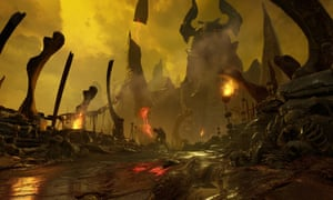 still from Doom -  a hellish realm of violence and monsters, with the sky a nice shade of mustard yellow