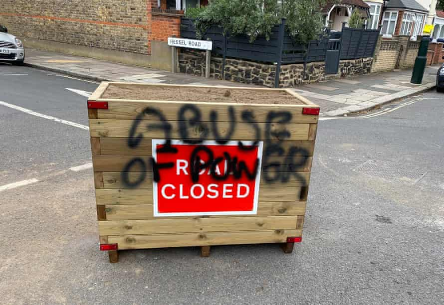 'Abuse of power': An LTN planter in Ealing, defaced within 24 hours of being installed