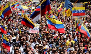 Opposition supporters rally against Maduro in Caracas on 12 February.