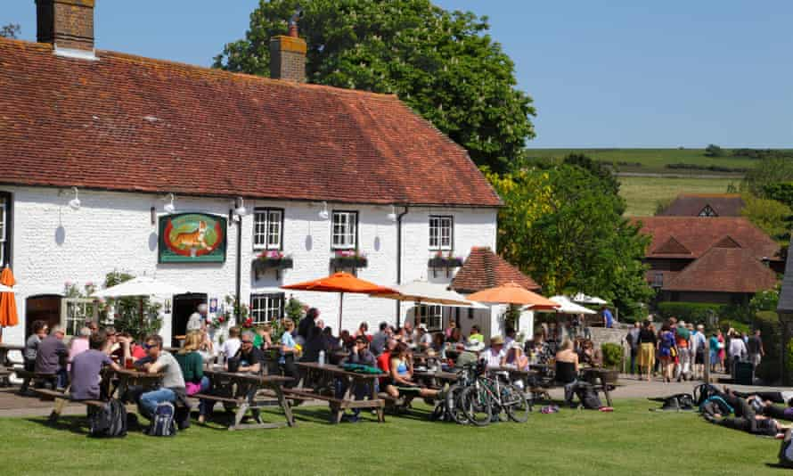 Outside in sunshine at The Tiger Inn, East Dean, East Sussex