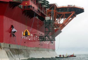 The Prirazlomnaya oil platform in the Arctic north of Russia, which Greenpeace activists were jailed for attempting to board in 2013.