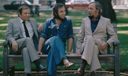The Jacques Loussier Trio in 1973. From left: the bass player Pierre Michelot, Loussier and the percussionist Christian Garros.