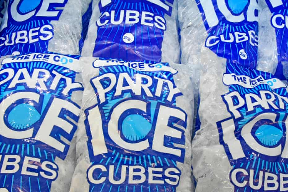 The Ice Co's Party Ice, as seen in a supermarket freezer cabinet.
