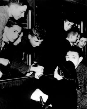 Children on a Kindertransport say goodbye at the station.