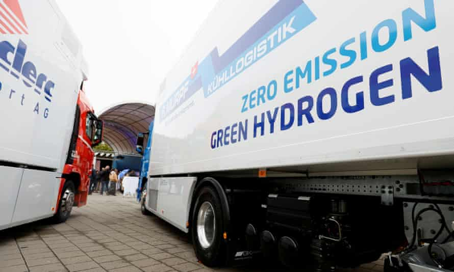 A hydrogen fuel-cell truck made by Hyundai is seen in Lucerne, Switzerland