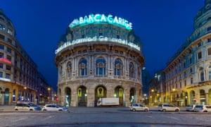 Banca Carige bank in the Piazza de Ferrari, Genoa, Liguria, Italy.