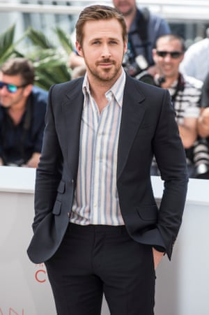 Ryan Gosling does low-key in stripes and a suit