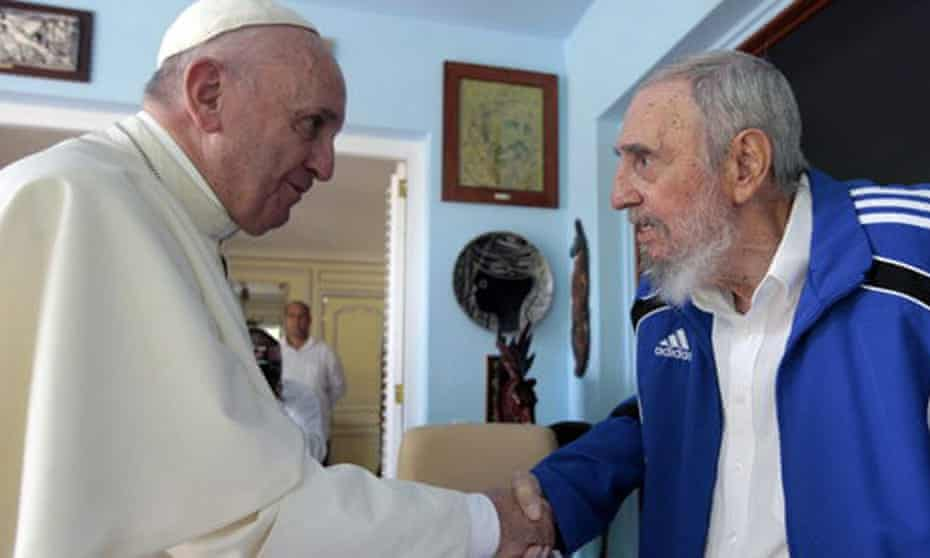 Pope Francis meeting Fidel Castro in Havana after saying mass before a crowd of thousands in the Cuban capital.