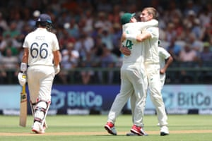 Anrich Nortje celebrates the wicket of England captain Joe Root