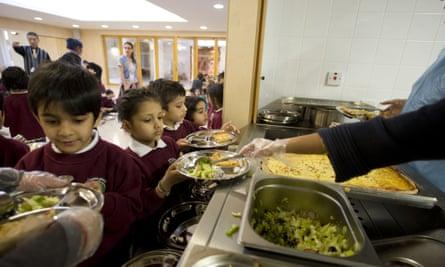 Children getting school meal