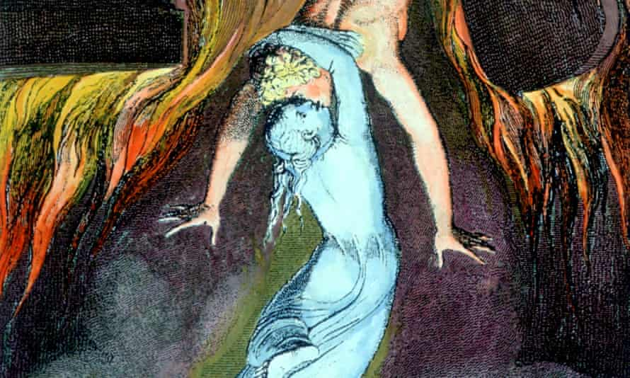 An astral body kisses the physical body farewell in William Blake's engraving for Robert Blair's 1743 poem The Grave.