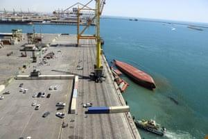 Bandar Abbas, Iran A capsized cargo ship