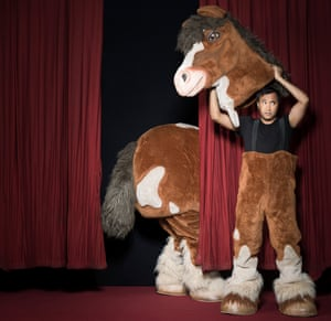 Rhik Samadder dressed as a pantomime horse