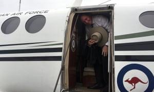 Barnaby Joyce boards a plane