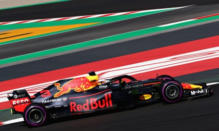 Daniel Ricciardo tries out the new Red Bull F1 car during winter testing at at Montmelo earlier this month