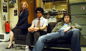 Sad-eyed basement geek … with Katherine Parkinson and Richard Ayoade in The IT Crowd.