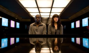 a still from Black Mirror - Fifteen Million Merits featuring Bing (Daniel Kaluuya) and Abi (Jessica Brown Findlay)