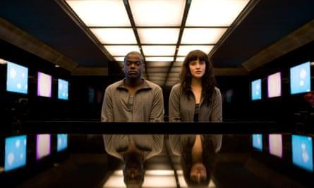 a still from Black Mirror - Fifteen Million Merits featuring Bing (Daniel Kaluuya) and Abi (Jessica Brown Findlay)