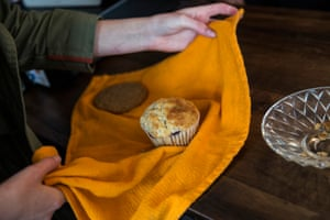 And an accompanying muffin is wrapped in a cloth she brought