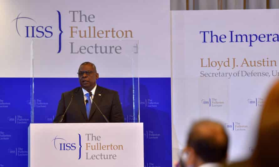 Lloyd Austin speaks at the IISS Fullerton Lecture in Singapore, 27 July 2021.