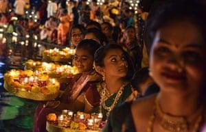 Mumbai, India. Candles are lit for the Hindu festival of Kartik Purnima