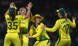 Australia show their delight after dismissing Natasha McLean of West Indies in the Women's World T20 semi-final.