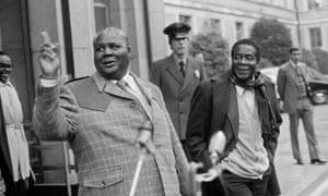 Joshua Nkomo, left, and Robert Mugabe leaving peace talks in Geneva in 1976.