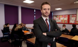Adam Simpson in his real-life classroom at Christleton High School