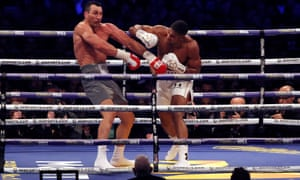 Anthony Joshua stuns Wladimir Klitschkowith a solid right in the fifth round of their fight at Wembley.