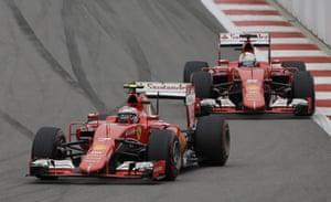 Raikkonen o leads teammate Vettel.