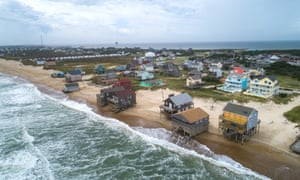 Waves beginning to rise from the Atlantic Ocean as Hurricane Dorian approaches Rodanthe, North Carolina. The Category 2 storm is expected to strike the state's barrier islands, the Outer Banks, later today
