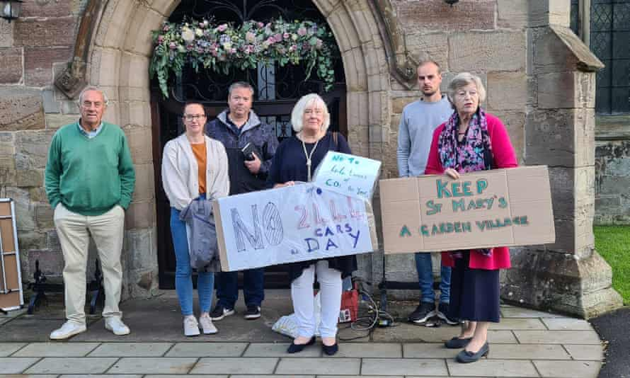 Local people protest against the planned drive-through