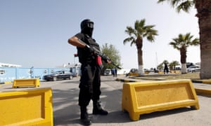 A guard outside the recognised Libyan unity government's base in Tripoli.