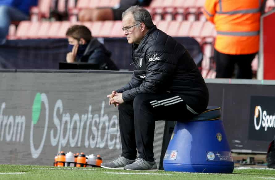 Marcelo Bielsa watches from his favorite vantage point.