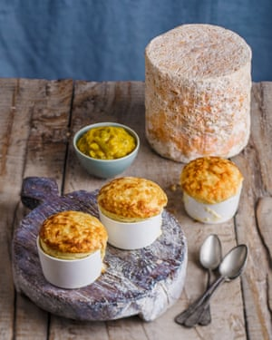 Cauliflower and stilton soufflé, homemade piccalilli