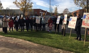Parents of children at Nascot Lawn protesting against the centre's closure.
