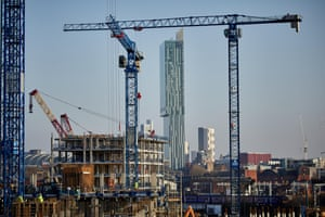 Cranes on the Manchester skyline.
