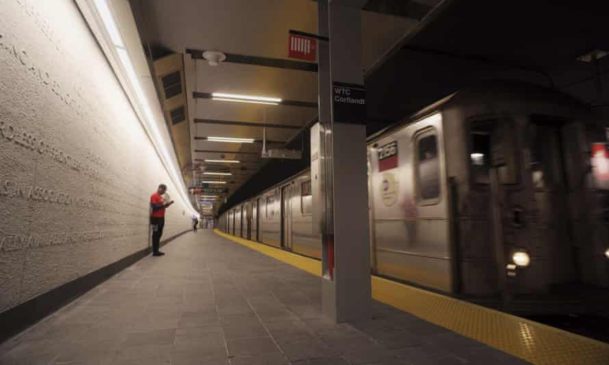 A downtown 1 train pulls into the WTC Cortlandt subway station in New York.