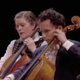 Cellists in the chamber orchestra led by Renaud Capucon